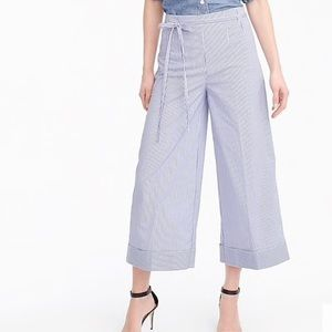 J. CREW striped cropped wide leg pant